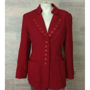 Vintage Simonton Studio Red Button Jacket Size 10